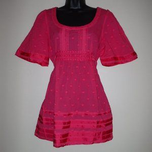Juicy Couture Pink Polka Dot Tunic Shirt Top